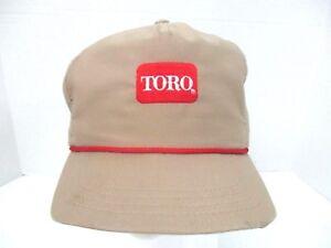 Toro-Lawn-Khaki-Red-Braid-Baseball-Hat-Cap-Leather-Strapback-Embroidered-Logo