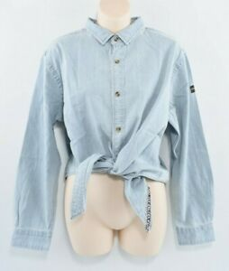 Femme-Superdry-E-Denim-Tie-Shirt-Top-Geo-bleu-ciel-taille-L-UK-14
