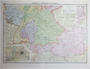 1920 LARGE MAP GERMANY SOUTH WEST WITH AUSTRIA MUNICH ENVIRONS OF