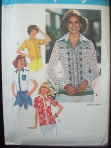 f44b5b2aa2 Image is loading 1970s-Simplicity-Pattern-7895-Top-Stitched-Shirts-Scarf-