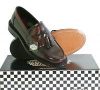 Ikon Selecta Mens Mod Skinhead Polished All Leather Tassle Loafers Oxblood Red