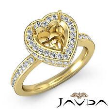 Diamond Engagement Ring 0.89Ct 14k Yellow Gold Heart Shape Semi Mount VS1-VS2