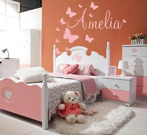 Baby-Name-Wall-Stickers-Butterflies-Girls-Boys-Kids-Personalised-Decor-New