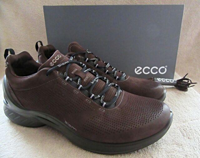 ECCO Biom Fjuel Mocha Brown Leather Lace Walking Shoes US 11 11.5 M EUR 45 NWB