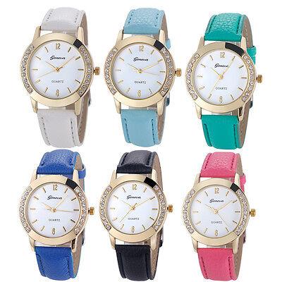 2017 Fashion Gevena Watch Women Rhinestone Leather Band Analog Quartz Wristwatch