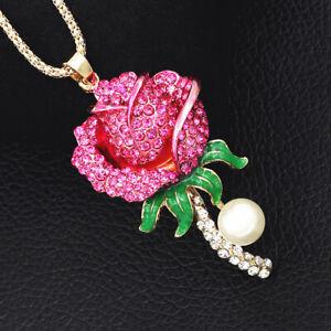 Betsey-Johnson-Fuchsia-Enamel-Crystal-Rose-Flower-Pendant-Sweater-Chain-Necklace