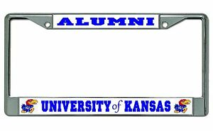 University Of Kansas Alumni Chrome License Plate Frame Ebay