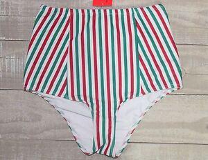 c3a805ce460df NWT American Apparel Women's High Waist Swim Bottoms Green Red ...