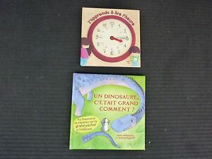 Lot-2-livres-034-J-039-apprends-a-lire-l-039-heure-Un-dinosaure-c-039-etait-grand-comment-034
