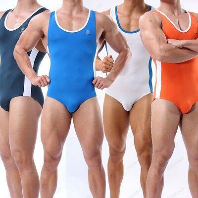 Men's Bodysuit Swimsuit Bodybuilding Fitness Shirt Sports Leotard Swimwear S M L