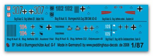 Peddinghaus  1/87 1648 6 verschiedene Stug III G-F