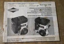 Briggs Amp Stratton Operating Amp Maintenance Instr Model Series 133400 1r 1295 Y21