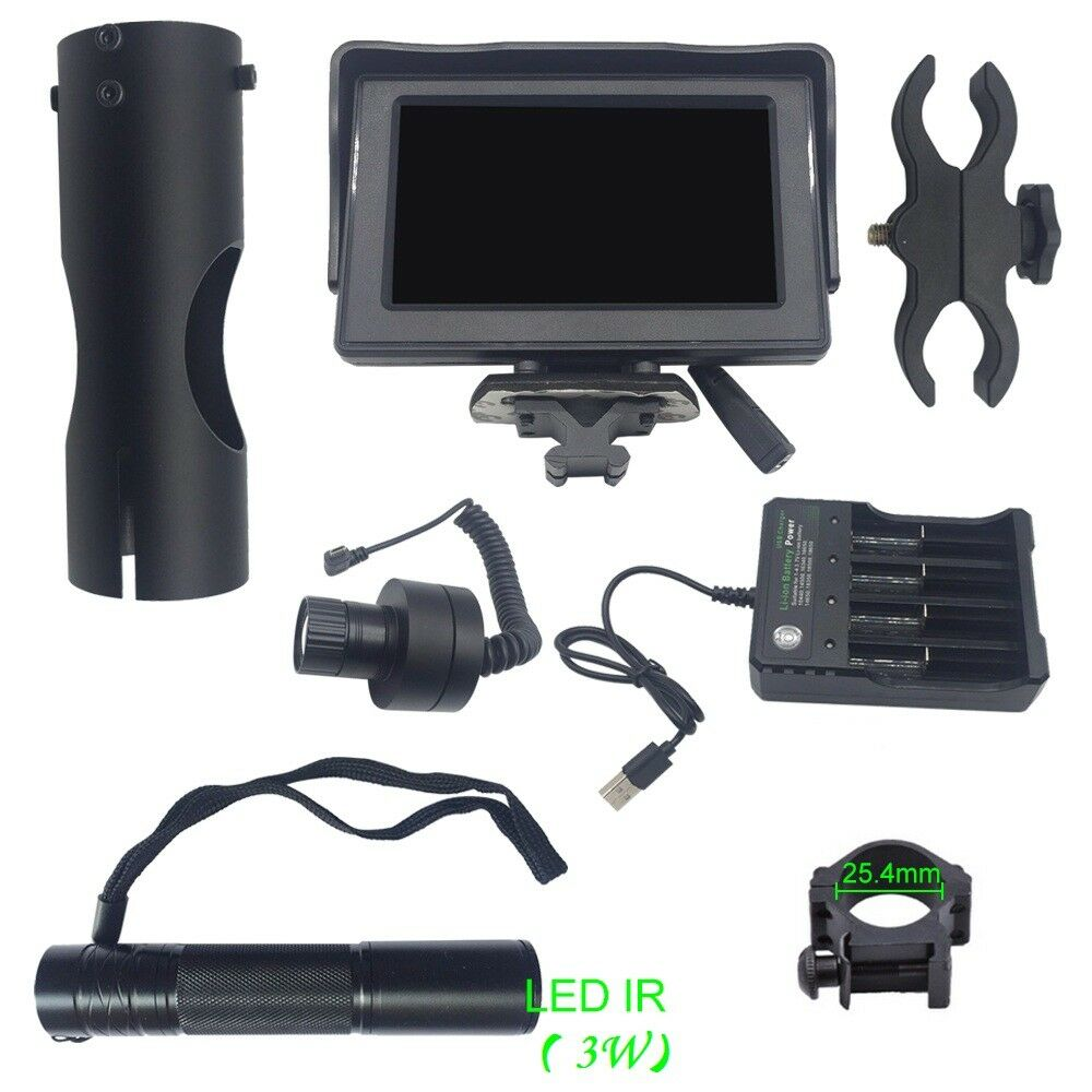 4.3  Display 200M Night Vision Scope Lens 38-45 Rifle Scope Monitor IR Torch