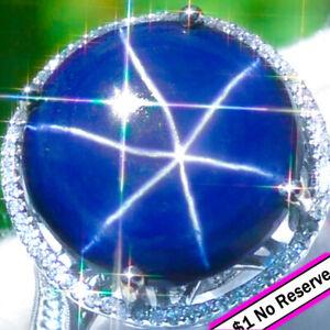 Sapphire-Ring-18K-GOLD-22-29ct-Diamond-ESTATE-Vintage-Star-Sapphire-Ring-9-7Gram
