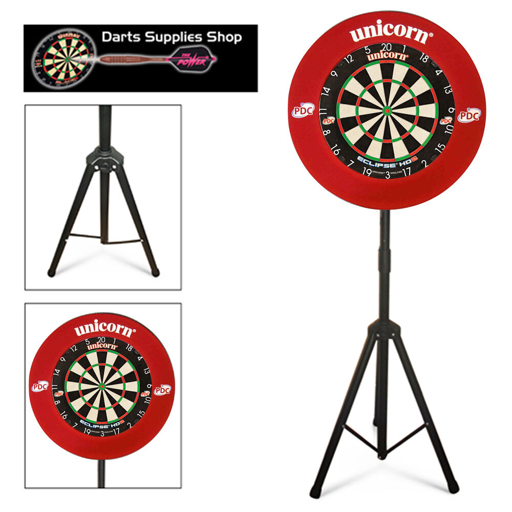 The Darts Caddy, Dartboard Stand with Unicorn Eclipse HD2 & Striker Surround