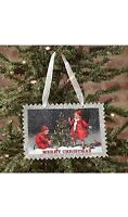 Vintage Postage Stamp Style Christmas Ornament, Children With Tree, 5.5 X 3.75
