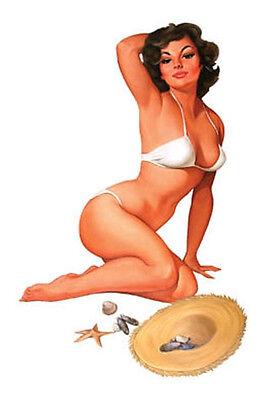 SEXY Baron Von Lind #BEACH BABE  STRAW HAT #PINUp GIRL STICKER/DECAL #xmasgift