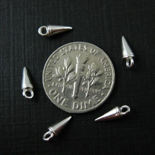 8mm - 5 pcs Sterling Silver Spike Stud Charms-Findings-Jewelry Stud-Cone Charm