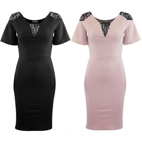 Womens Floral Lace Insert V Neck Ladies Short Sleeve Pencil Bodycon Mini Dress