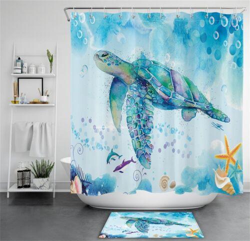 Colorful Sea Turtle Starfish Kids Painting Waterproof Fabric Shower Curtain Set