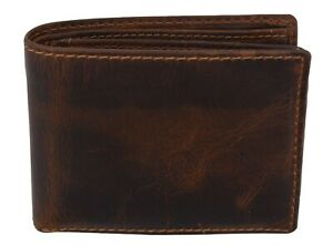 Brown-RFID-Blocking-Vintage-Hunter-Leather-Men-039-s-Bifold-Wallet-Center-Flap