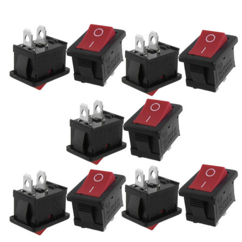 25pcs AC 6A//250V 10A//125V ON-OFF I//O SPST 2 Pin Snap in Rocker Switch Red Button