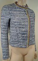 MAJE Women's LAOS Blue & White Tweed Embellished Collarless Blazer Jacket FR38 M