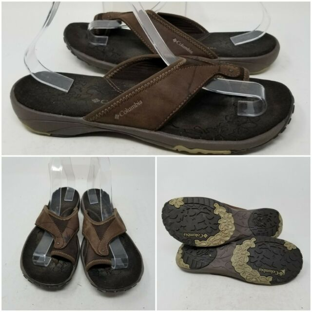 Columbia Brown Suede Outdoor Slip On Thong Sandal Slides Womens Size 10