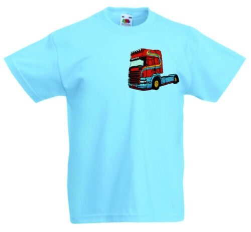 SCANIA BLUE RED LORRY TRUCK Embroidered Kids crew neck cotton Childrens T Shirt.
