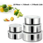 10 Piece : Home Mixing Stainless Steel 5 Storage Bowl Set with 5 Plastic Lids