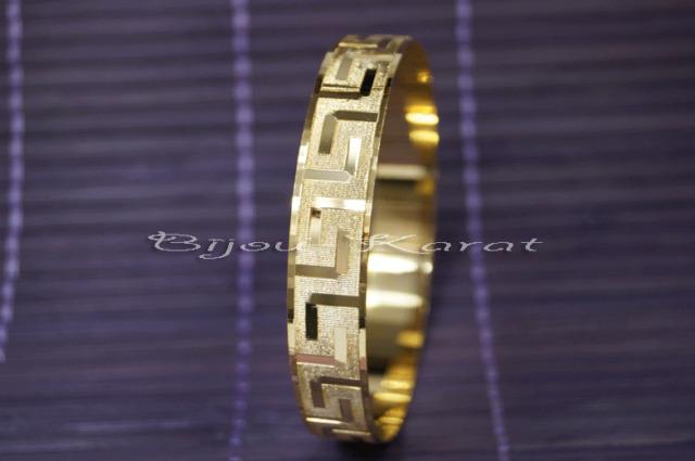 Wunderschöner Gold plattierter Armreifen Goldarmreifen Mäander Musterung Bangle