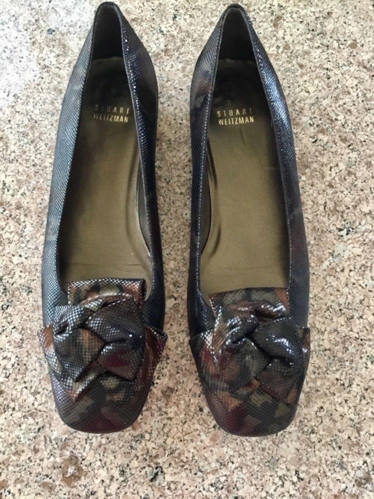 Classic Stuart Weitzman Braun Shimmer Snakeskin Bow Front Loafer Flats Sz 9 M