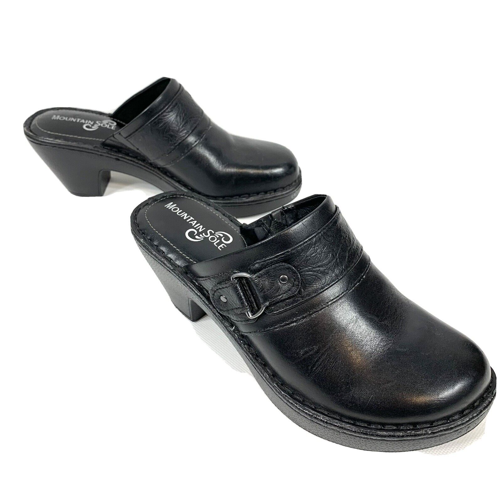 Mountain Sole Black Leather Clogs Mules Heels - Size 8.5 M