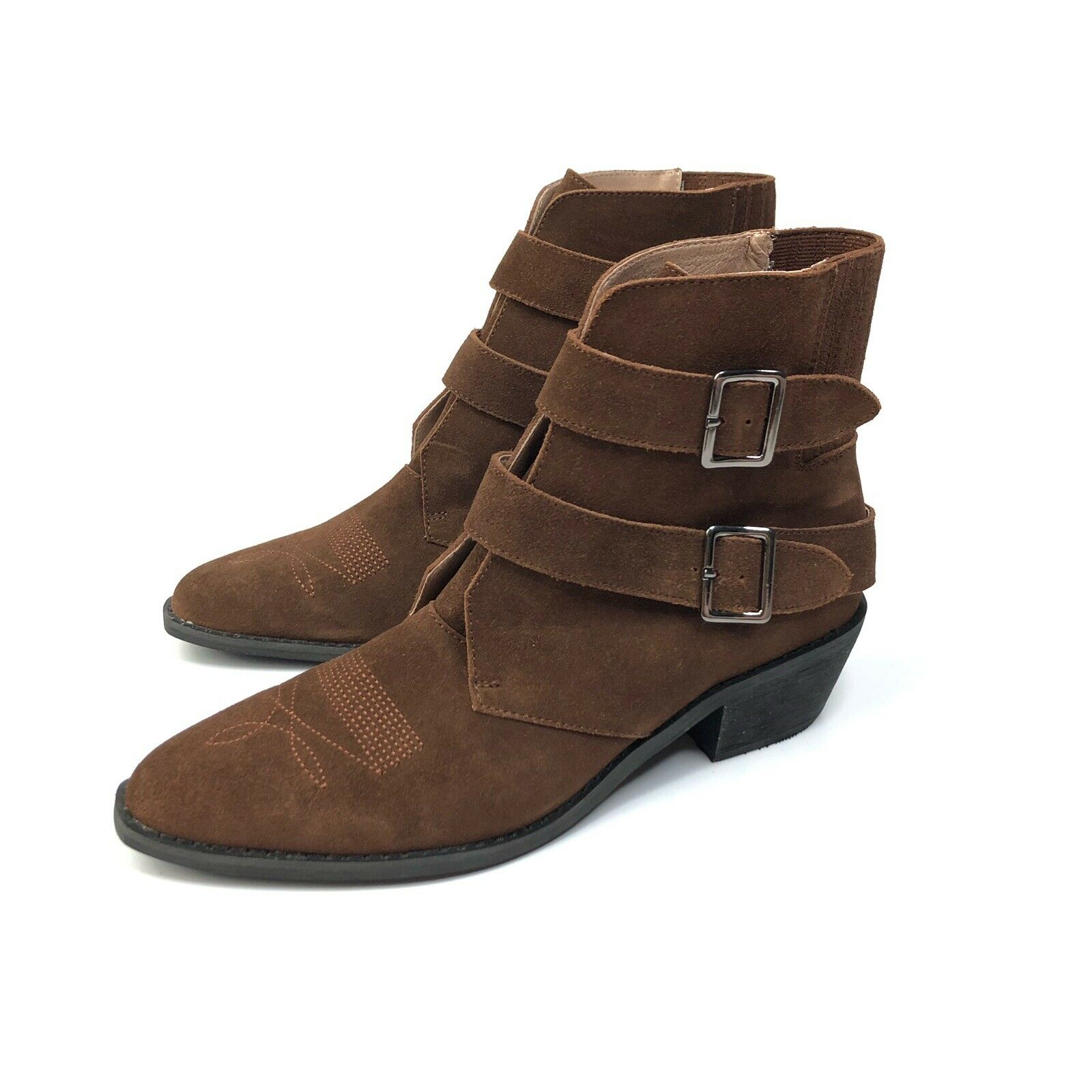 Anthropologie Brown Suede Western Style Buckled Ankle Booties Boots Size 9