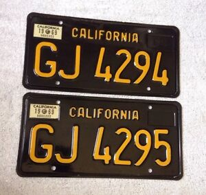 1963 california trailer license plates consecutive number pair gj4294 gj4295 ebay. Black Bedroom Furniture Sets. Home Design Ideas