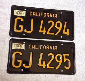 1963 california trailer license plates consecutive number pair gj4294 gj4295 ebay. Black Bedroom Furniture Sets. Home Design Ideas