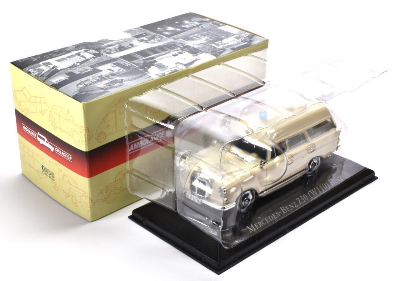 1:43 Voiture Miniature Diecast AMB01 Ambulance Mercedes-Benz 230 W110 1966 Binz