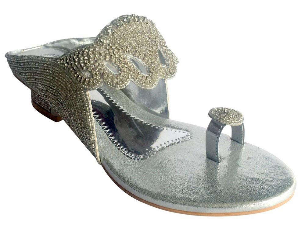 Etats-Unis Femme Strass Indien Mariage Soirée Sandales Chaussures juttis Khussa chaussures DD459