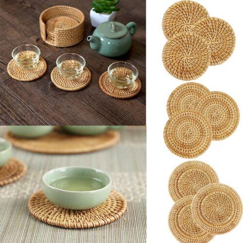 Vintage Woven Coaster Tea Coffee Drink Cup Drinks Holder Mat Heat Insulation