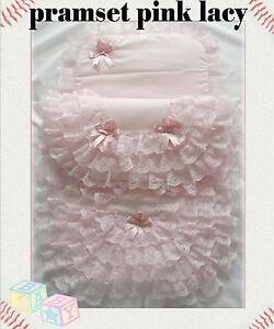 New-Handmade-Babys-2-Piece-Lacy-Pramset-Pram-set-Blanket-Quilt-Romany-lace