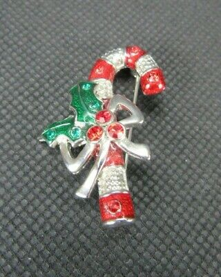 E783 2 Candy Cane Charms Silver Tone and Red White and Green Enamel