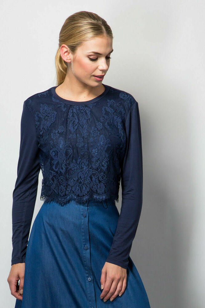 Femme Haut Pull Lace Front Jersey Casual Bleu Marine Fashion Taille 6-16