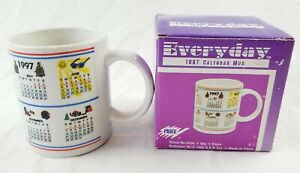 Vintage-Everyday-1997-Calendar-Mug-In-Original-Box-Excellent-rate-retro-90-039-s