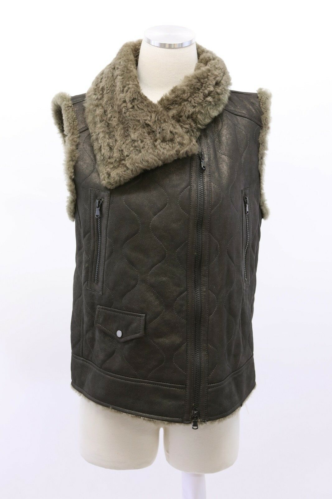 NWT 8245 Brunello Cucinelli Quilted Metallic Leather Leather Leather Shearling Fur Vest 42M A191 59786e