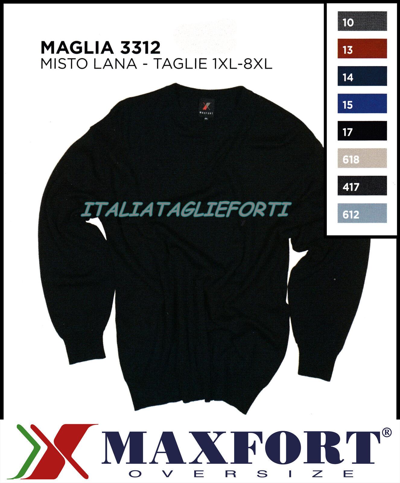 MAXFORT 3312 MAGLIA MAGLIONE MISTO LANA GIROCOLLO men TAGLIE FORTI XL 10XL POLO