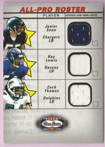 JUNIOR-SEAU-RAY-LEWIS-ZACH-THOMAS-2002-FLEER-BOX-SCORE-ALL-PRO-ROSTER-3X-JERSEY