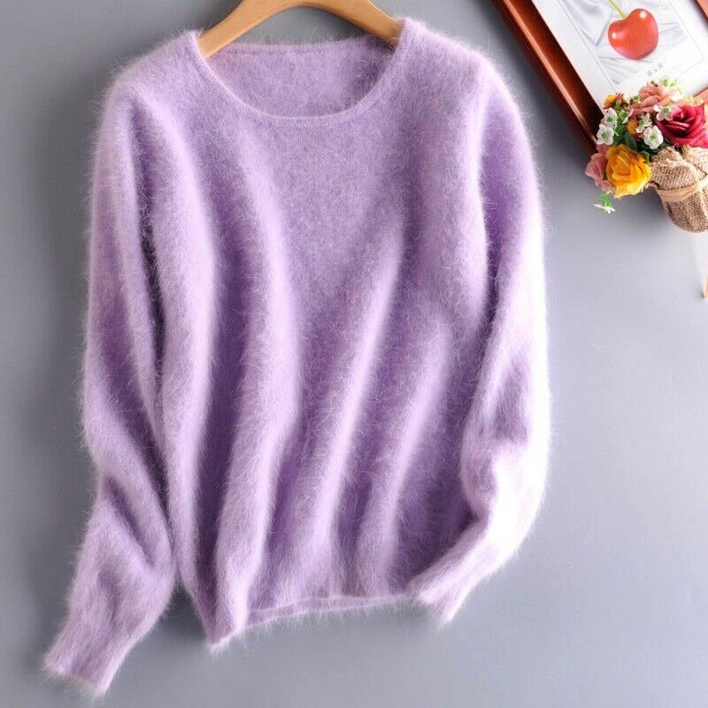 100% ANGORA Pull Laine Lilas Wool Lilac Jumper Sweater Mink Cashmere toutes