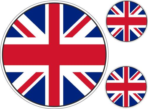 Set 3x autocollant sticker voiture moto  rond uk royaume uni drapeau anglais