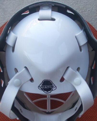 Goalie Mask Open Back Plate Strap System New Image Goalie Mask White
