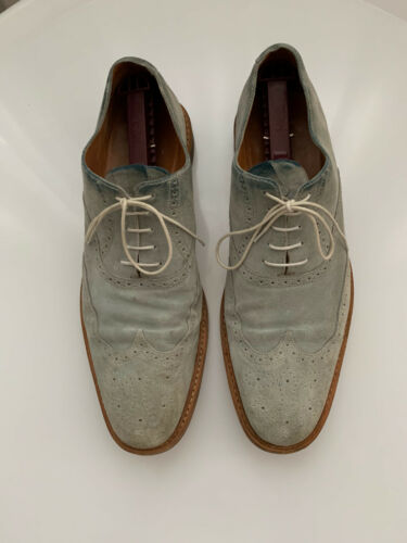 Heschung Derby Brogue Pale Blue Suede  Mens Shoes